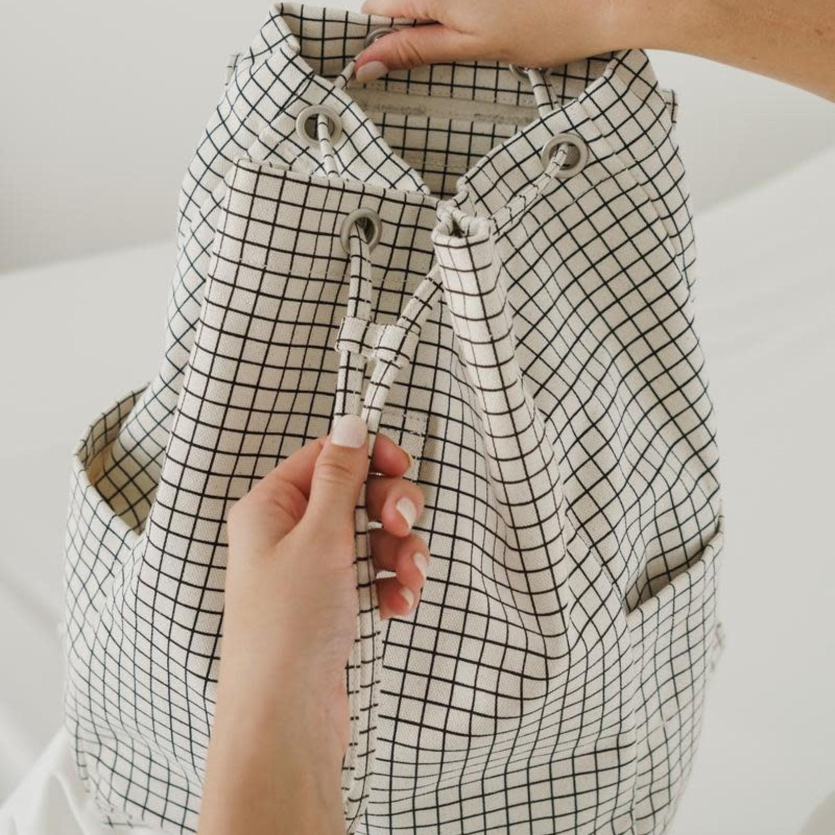 Baggu Baggu Canvas Drawstring Backpack Natural-Grid
