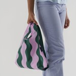 Baggu Baggu Reusable Bag Baby Pink and Green Wavy Stripe