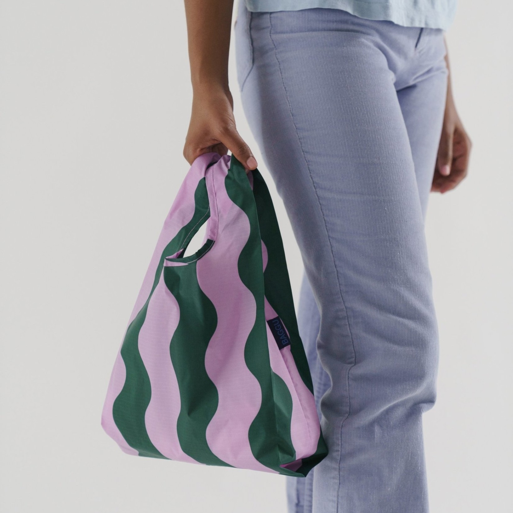 Baggu Baggu Reusable Bag Baby Pink and Green Wavy Stripe