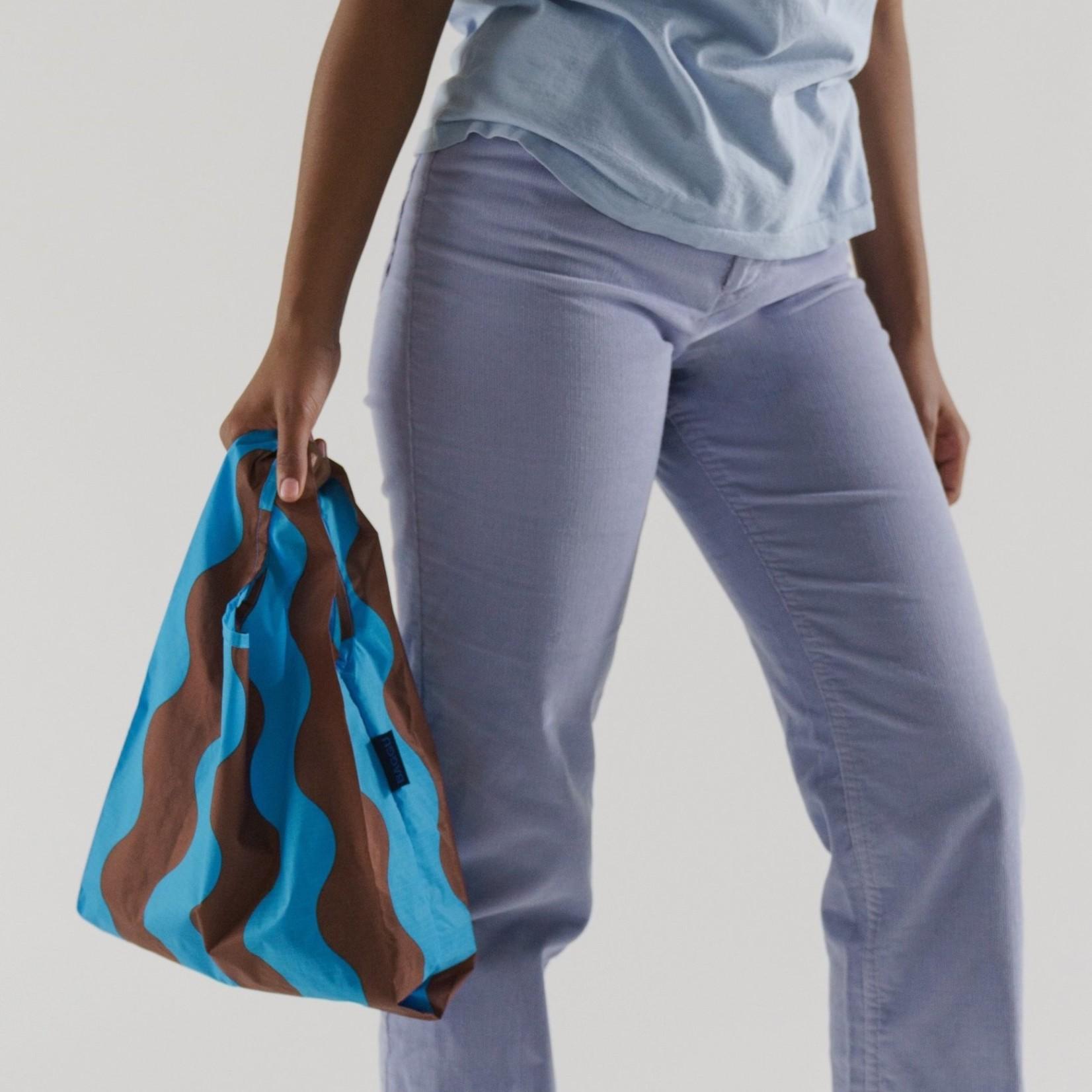 Baggu Baggu Reusable Bag Baby Teal and Brown Wavy Stripe