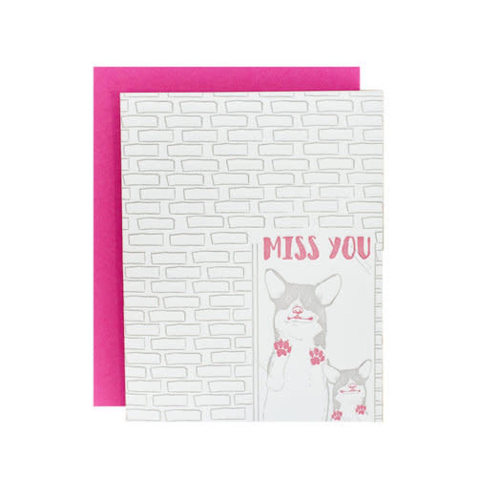 Riva Letterpress Miss You Corgi