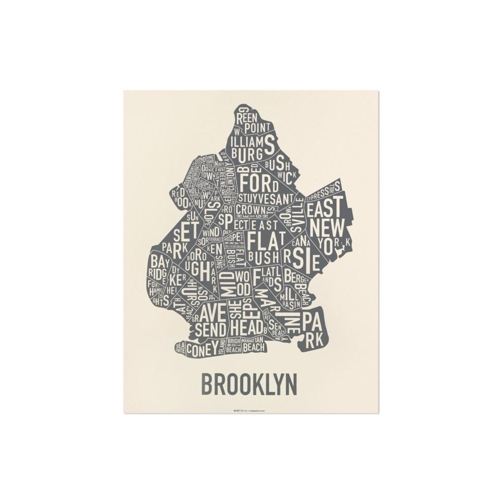 """Ork Poster Brooklyn Ivory & Grey 11"""" x 14"""""""