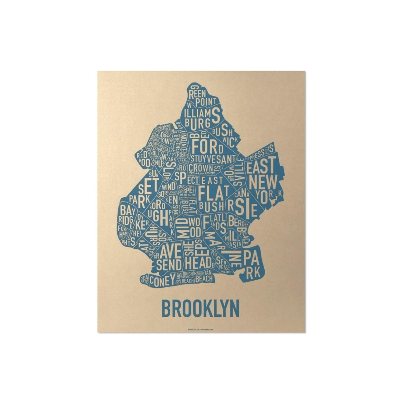"Ork Poster Brooklyn Gold & Blue 11"" x 14"""