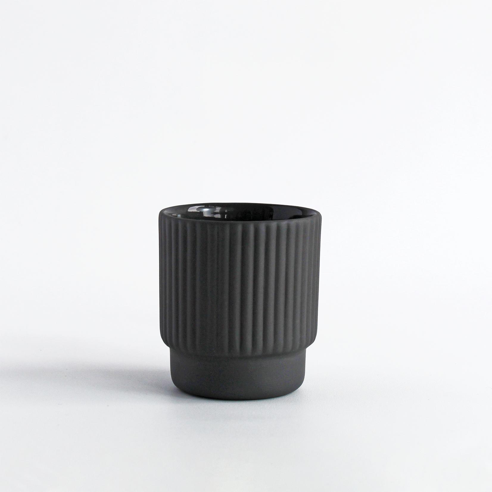 Archive Studio Archive Studio Handmade Espresso Cup Ribbed Dark Grey