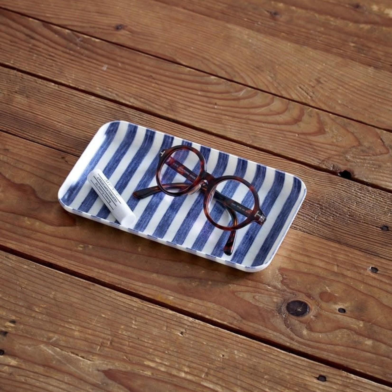 Fog Linen Fog Linen Linen Coated Tray Small White Blue Stripe