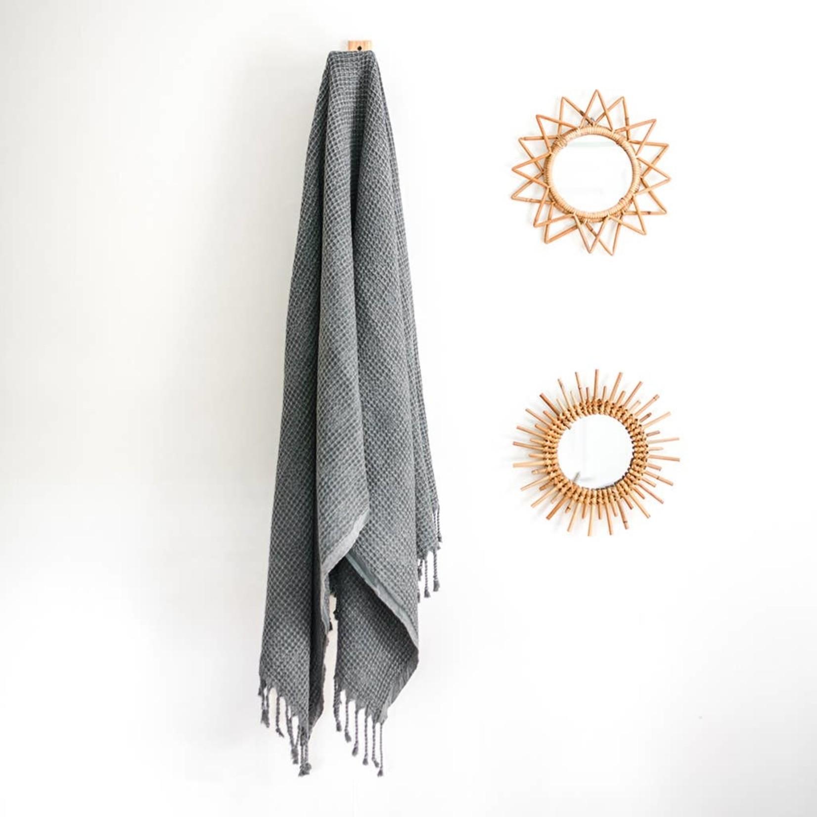 Slate + Salt Slate + Salt Waffle Weave Turkish Towel  Charcoal