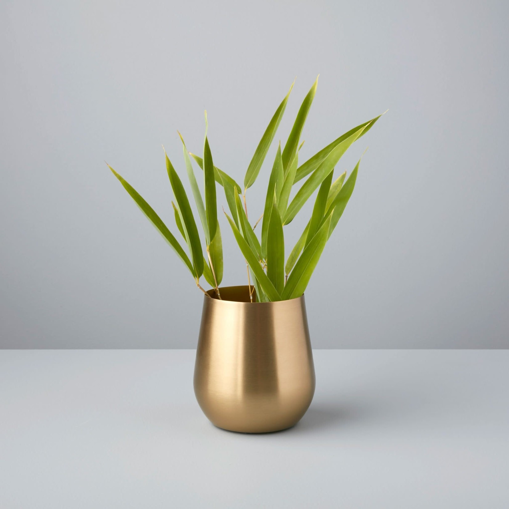 Be Home Be Home Satin Gold Sloped Vase Small