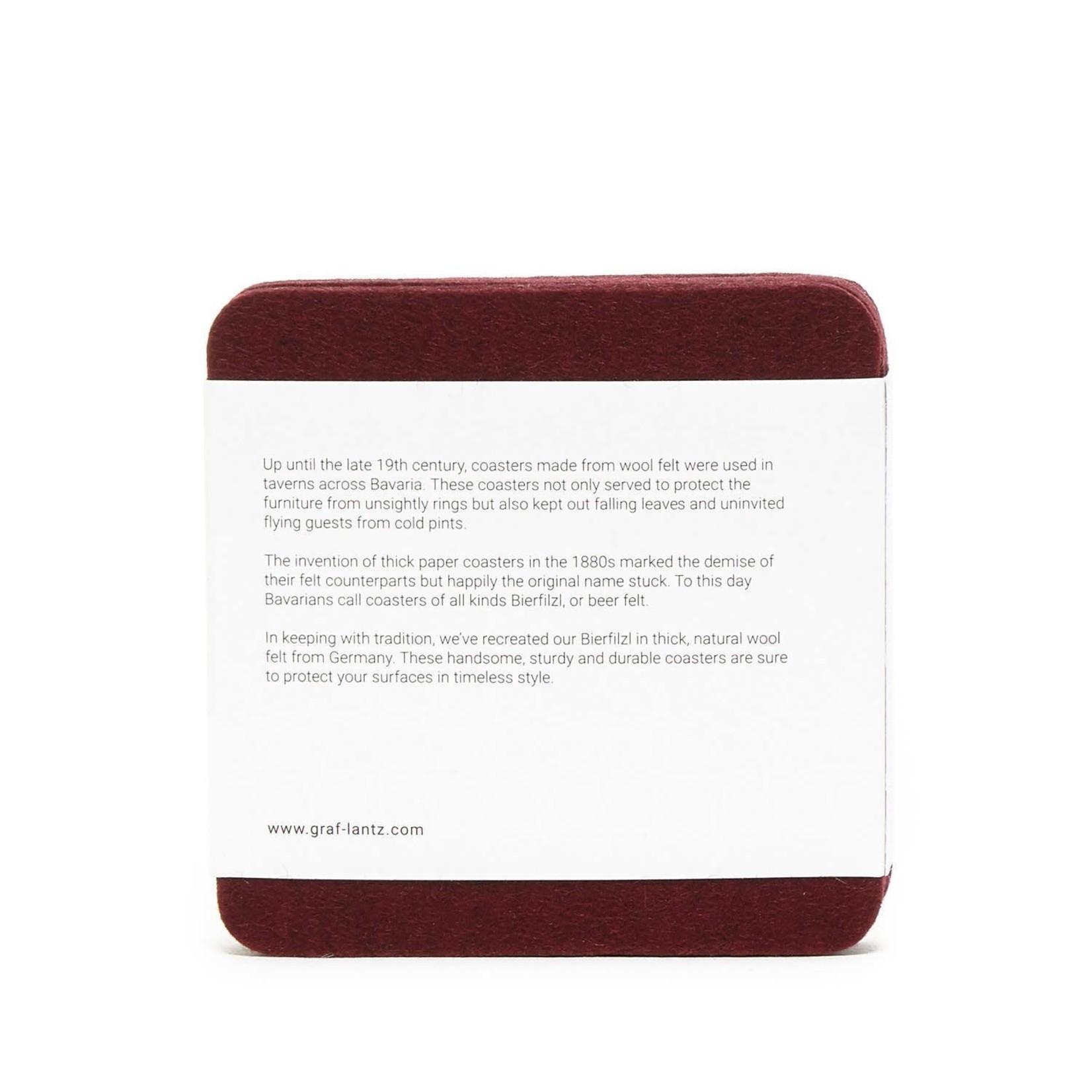 Graf & Lantz Graf & Lantz Coaster square 4 pack Rouge