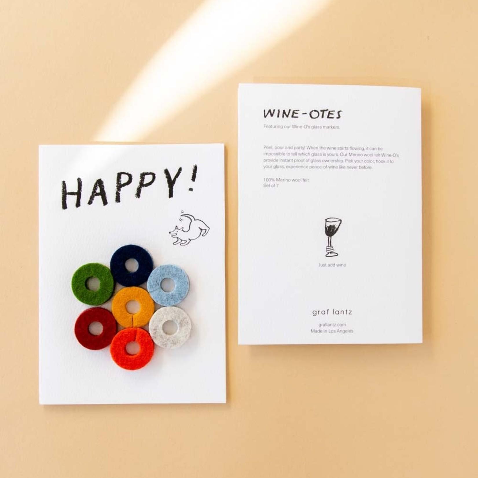 Graf & Lantz Graf & Lantz Wine-Ote's Happy Felt Wine Marker Note Card