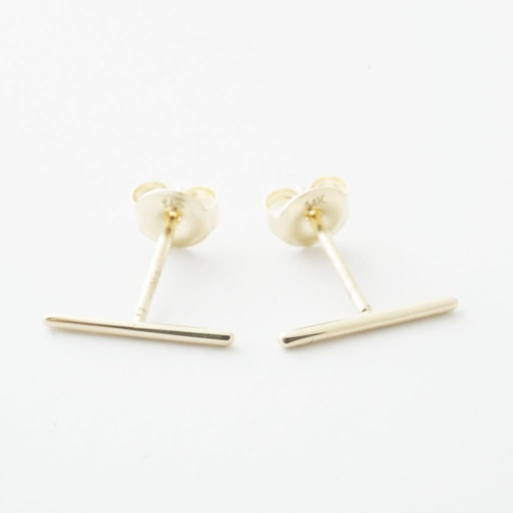Honeycat Jewelry Honeycat Skinny Midi Bar Earring 14K Gold