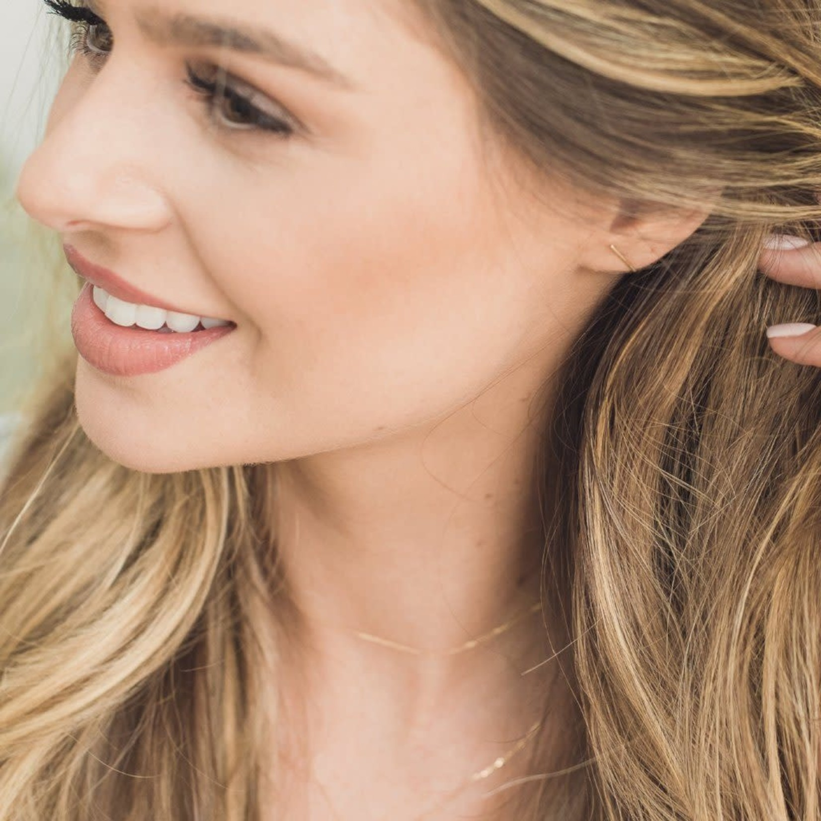 Honeycat Jewelry Honeycat Skinny Midi Bar Earring 14K Rose Gold