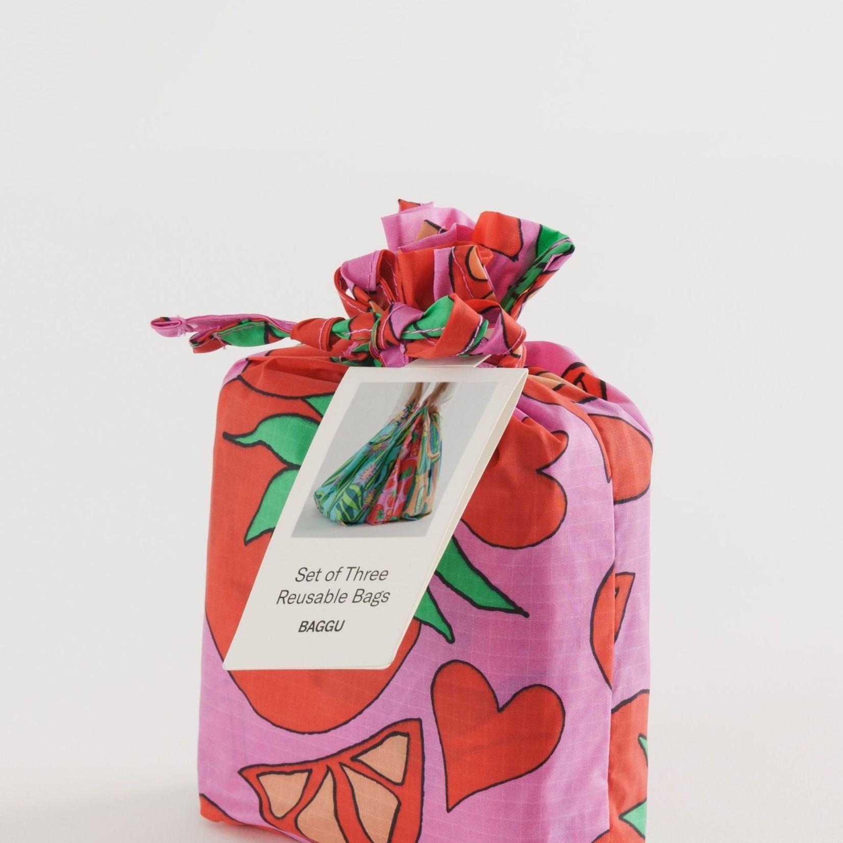 Baggu Baggu Reusable Bag Standard Set of Three - Summer Veggies