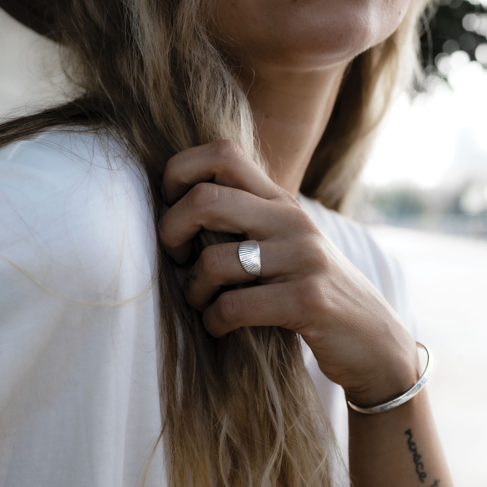 Mana Made Jewelry Mana Made Vintage Lines Cuff Bracelet Silver