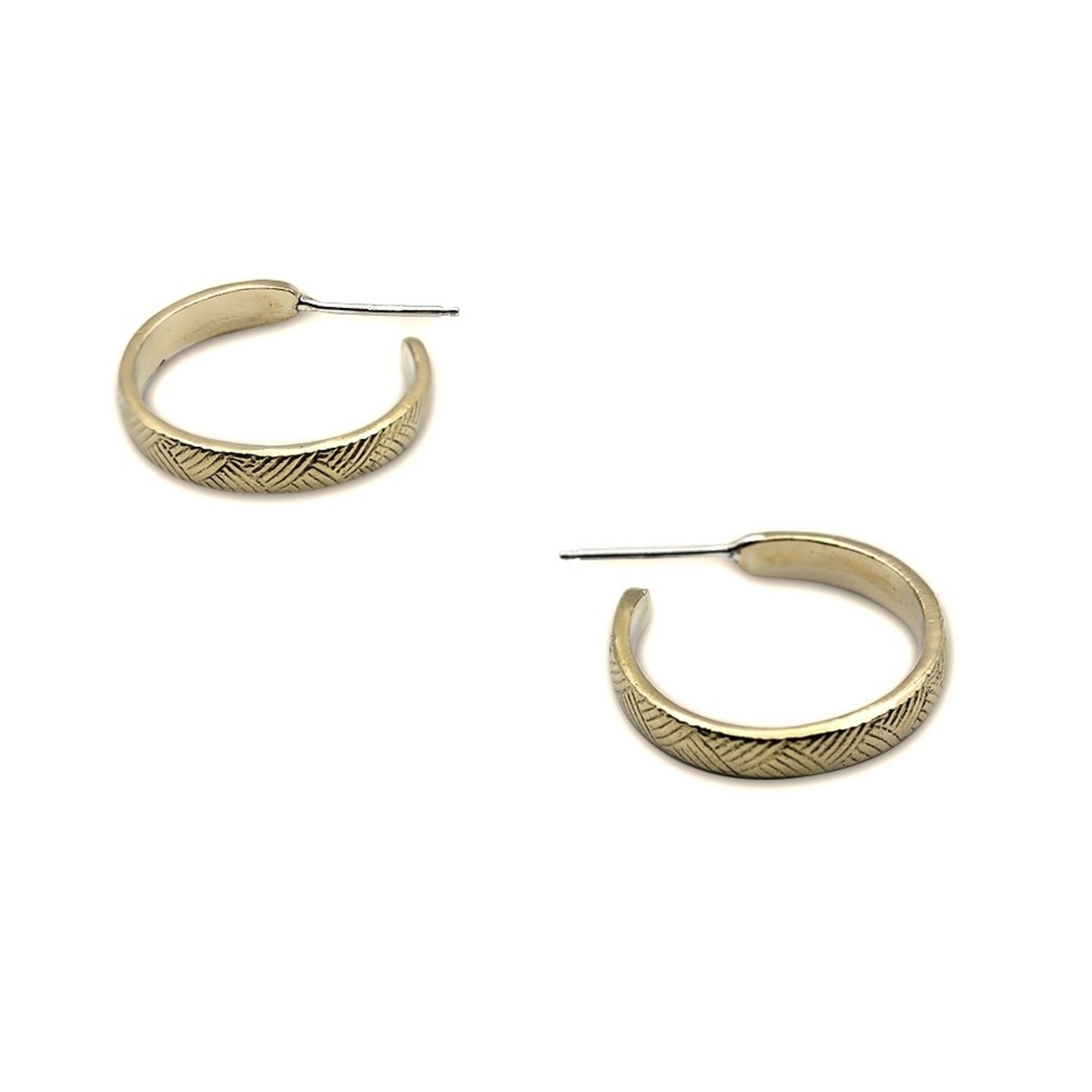 Mana Made Jewelry Mana Made Medium Vintage Lines Hoop Earrings in Brass