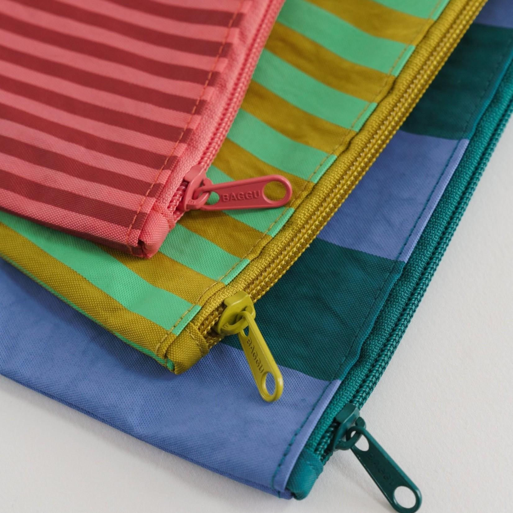 Baggu Baggu Flat Pouch Set Afternoon Stripes