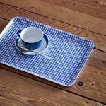 Fog Linen Fog Linen Linen Coated Tray Medium Blue White Check