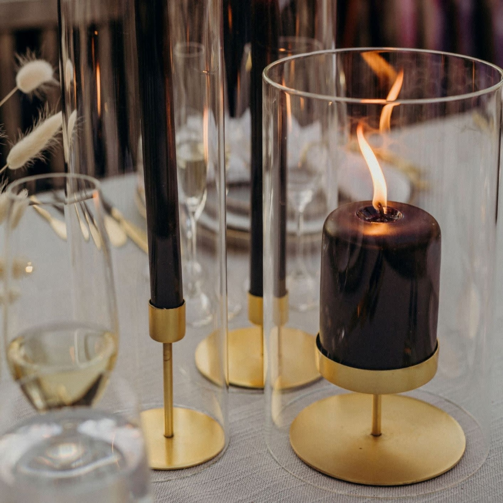 Be Home Be Home Gold Pillar Candle Holder Tall