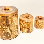 """Natural OliveWood Natural OliveWood Spice Jars 3"""""""