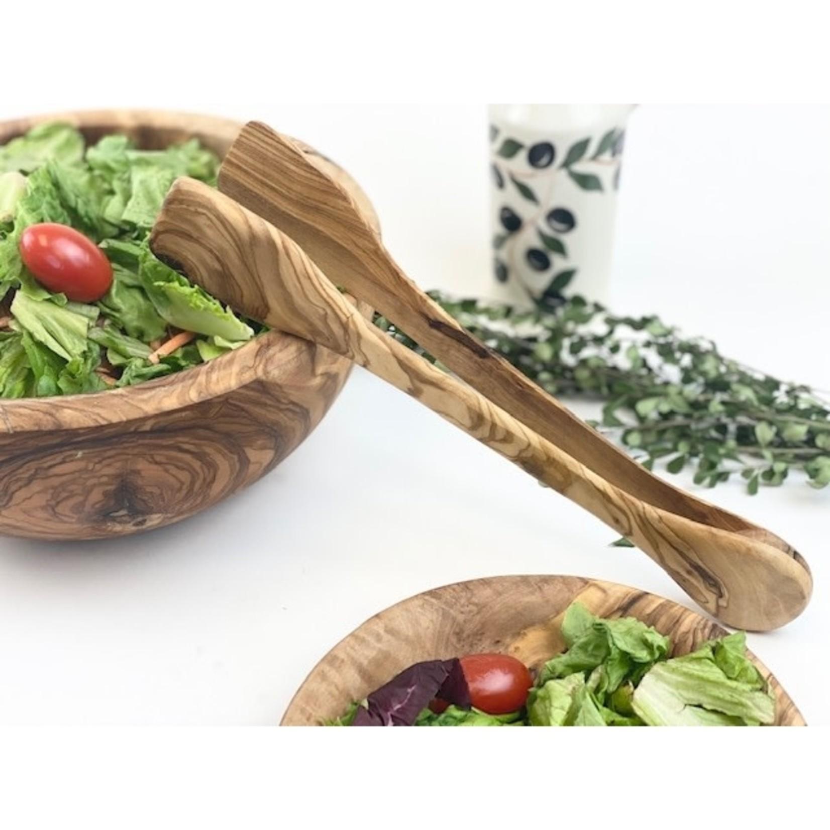 "Natural OliveWood Natural OliveWood Serving Tongs 14"""