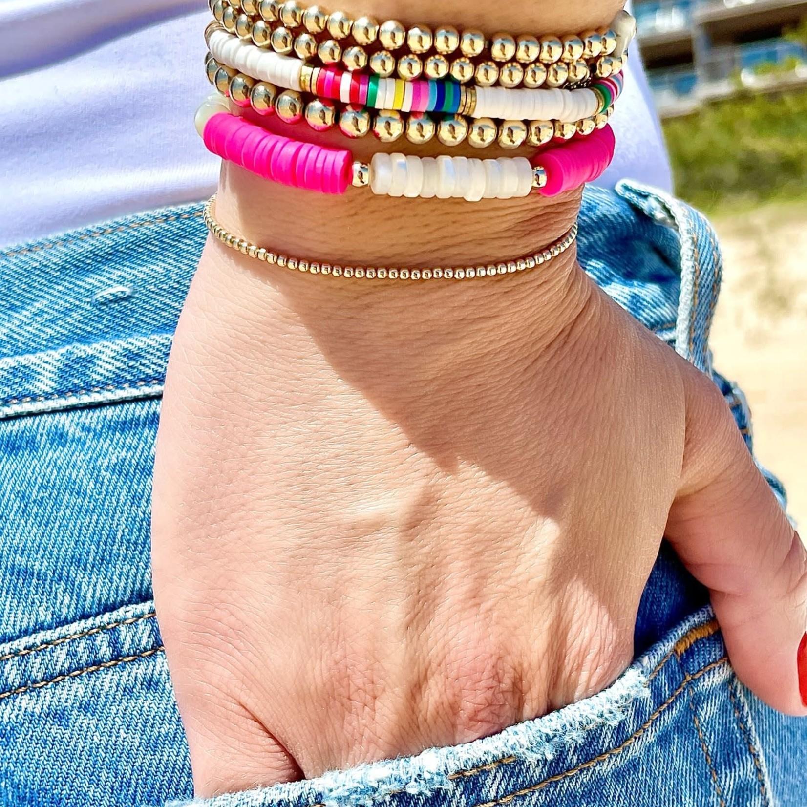 """Olivia Le Olivia Le Rainbow Seychelles Bead Bracelet 6.5"""""""