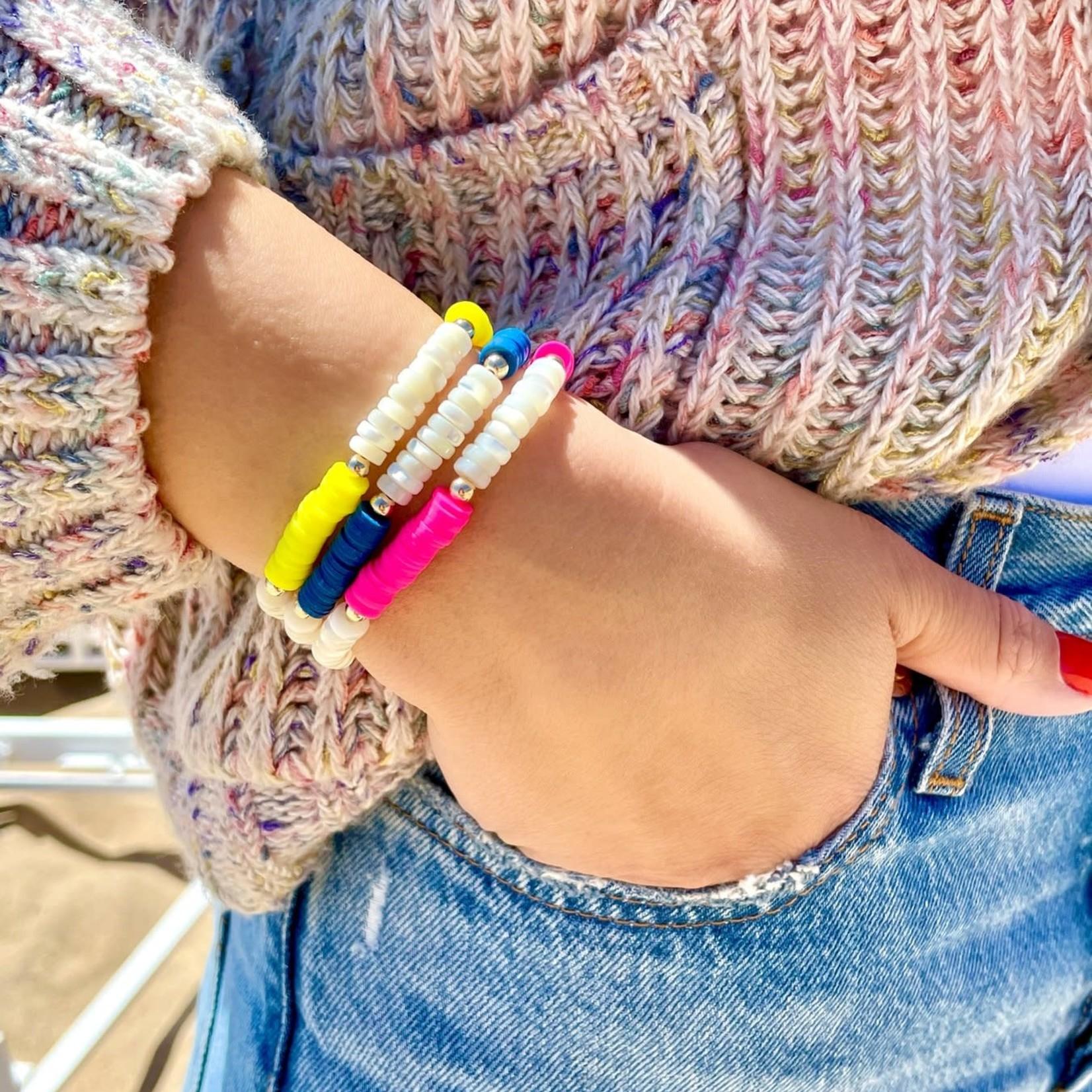 "Olivia Le Olivia Le Nirvana Pearl Heishi Bracelet Blue 6.5"""