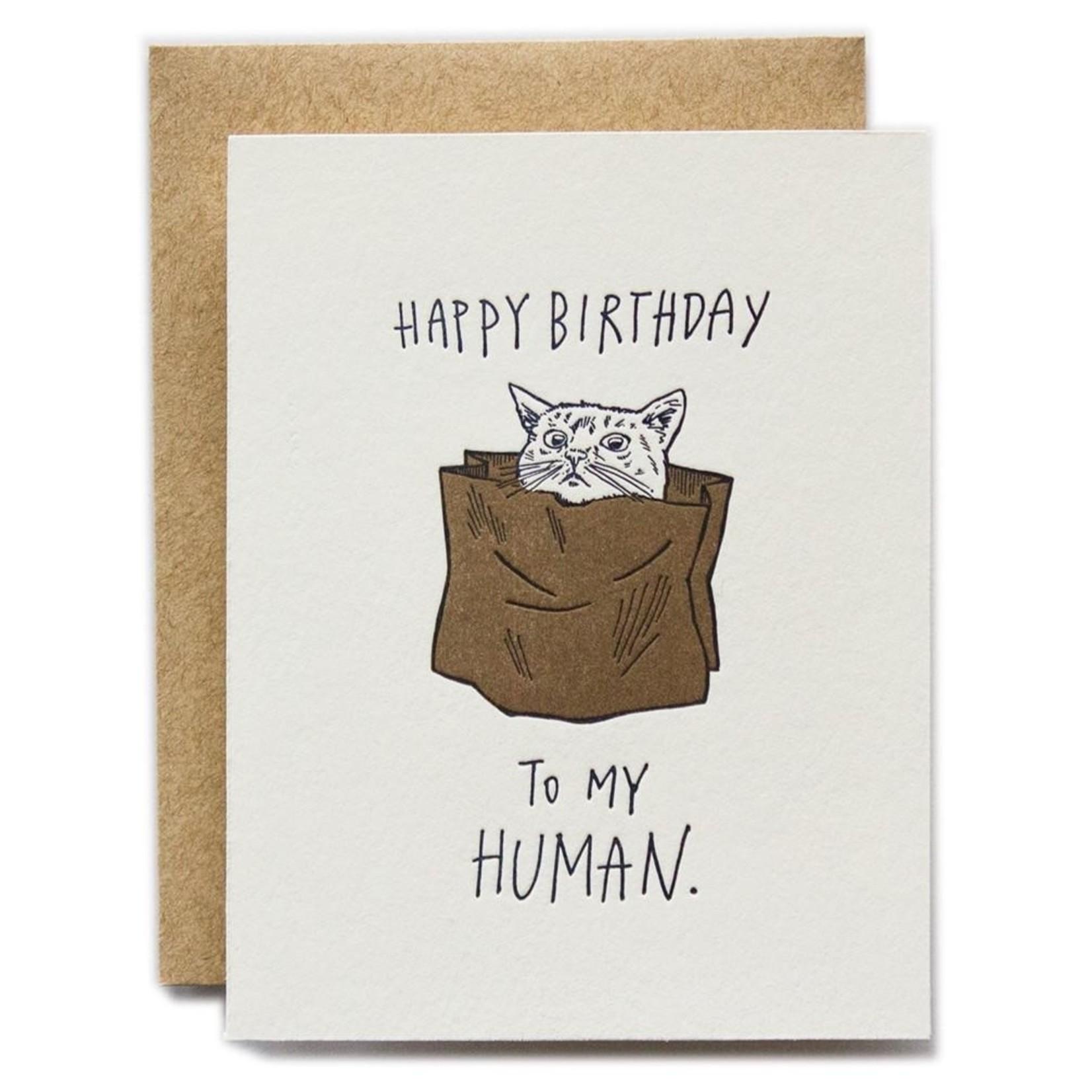 Ladyfingers Letterpress Ladyfingers Happy Birthday To My Human Cat