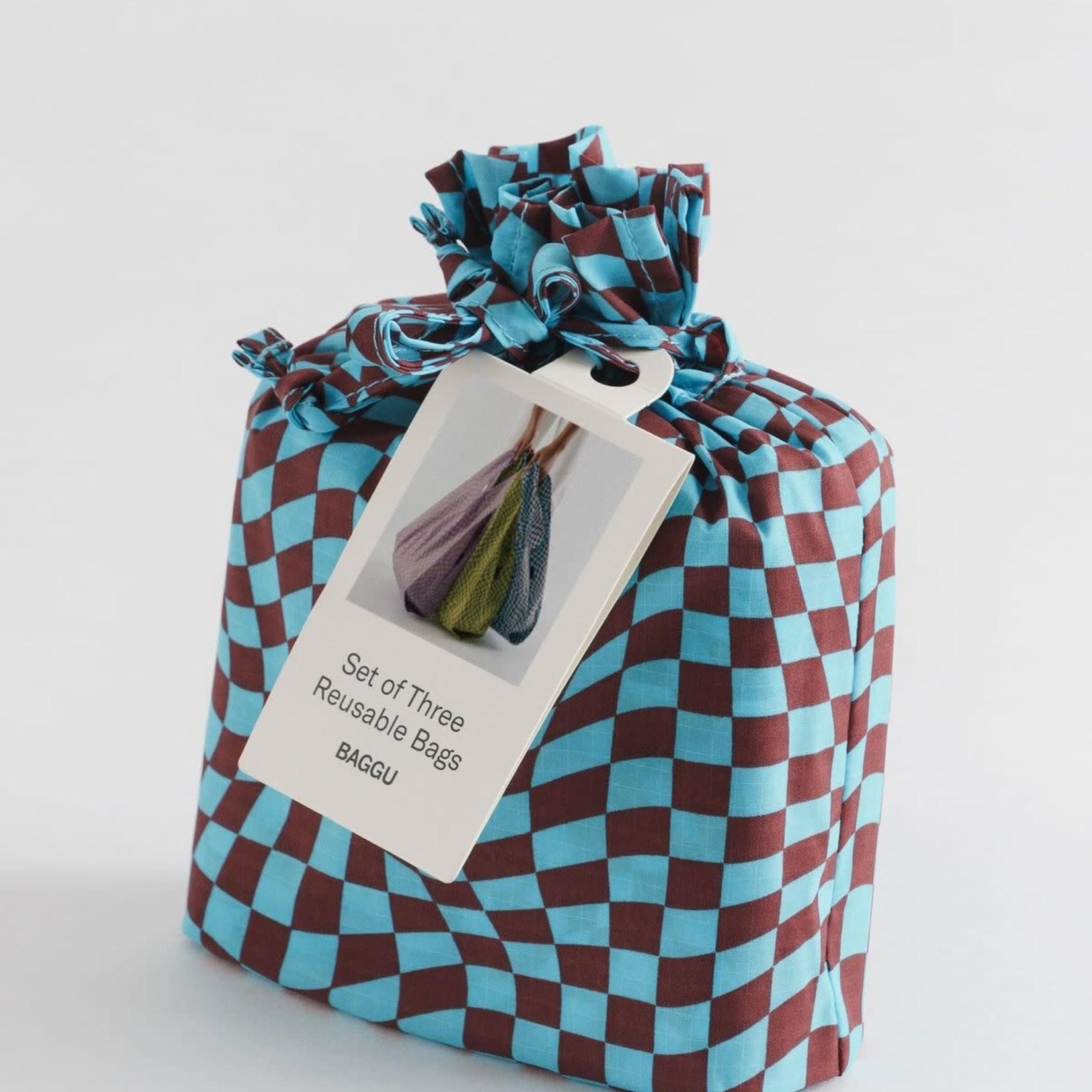Baggu Baggu Reusable Bag Standard Set of Three - Trippy Checkers