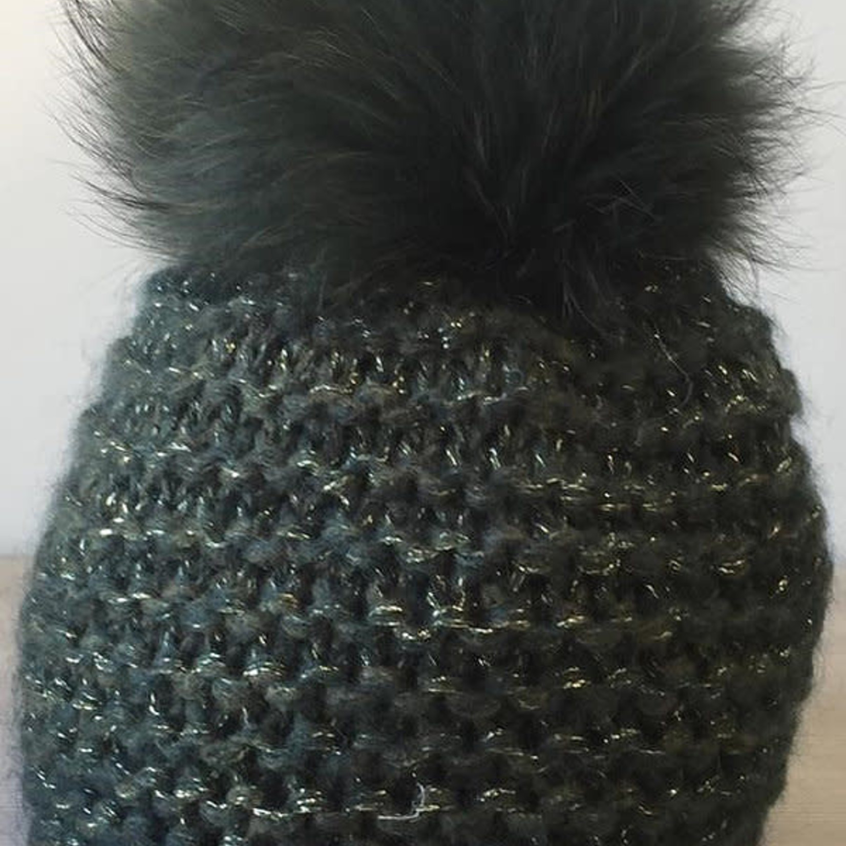 Jijou Fur Pom Pom Hat JJ101 Olive