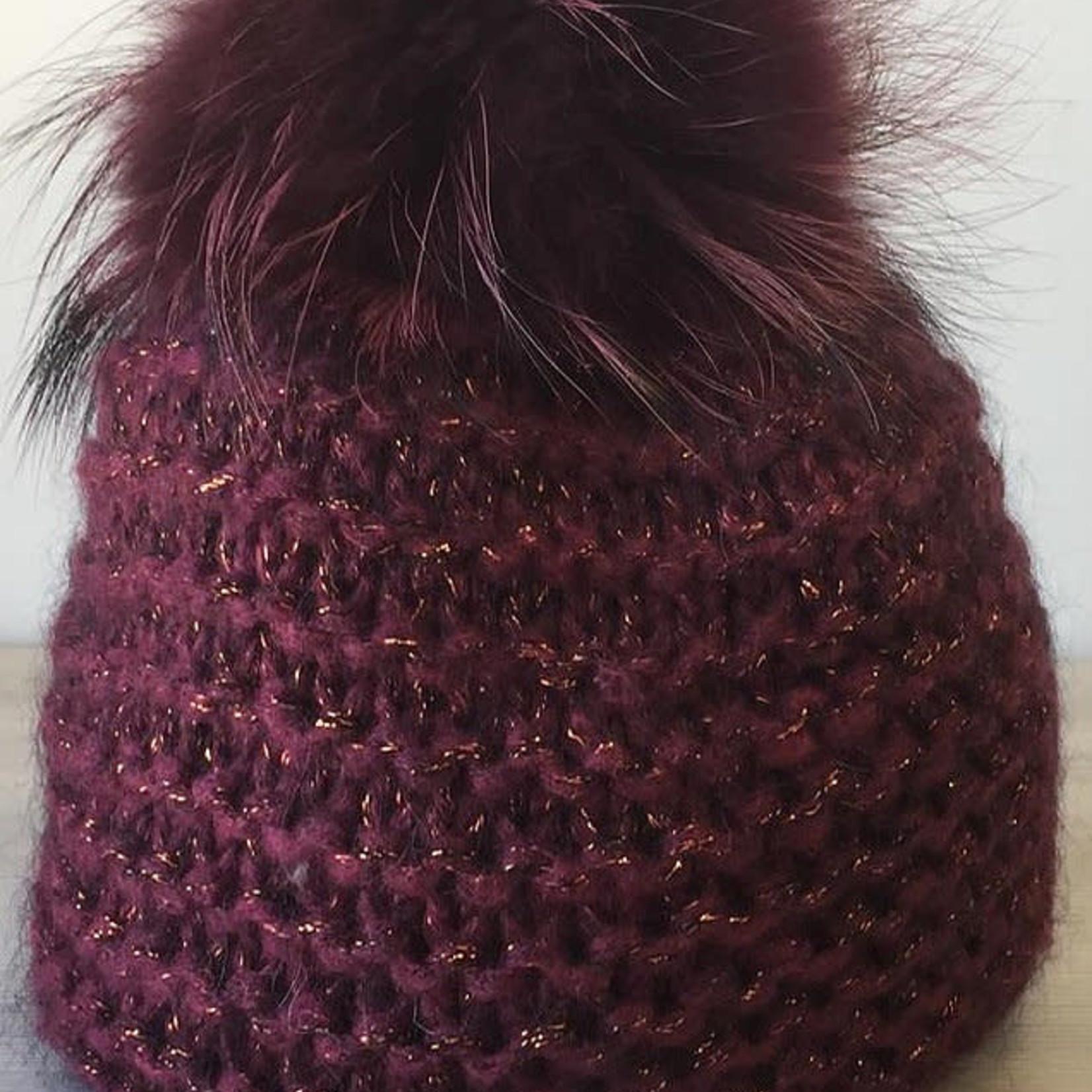 Jijou Fur Pom Pom Hat JJ101 Wine