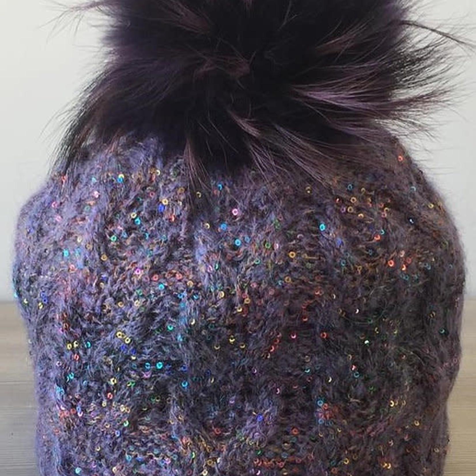 Jijou Fur Pom Pom Hat JJ107 Purple
