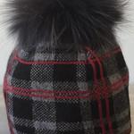 Jijou Fur Pom Pom Hat JJ115 Black Plaid
