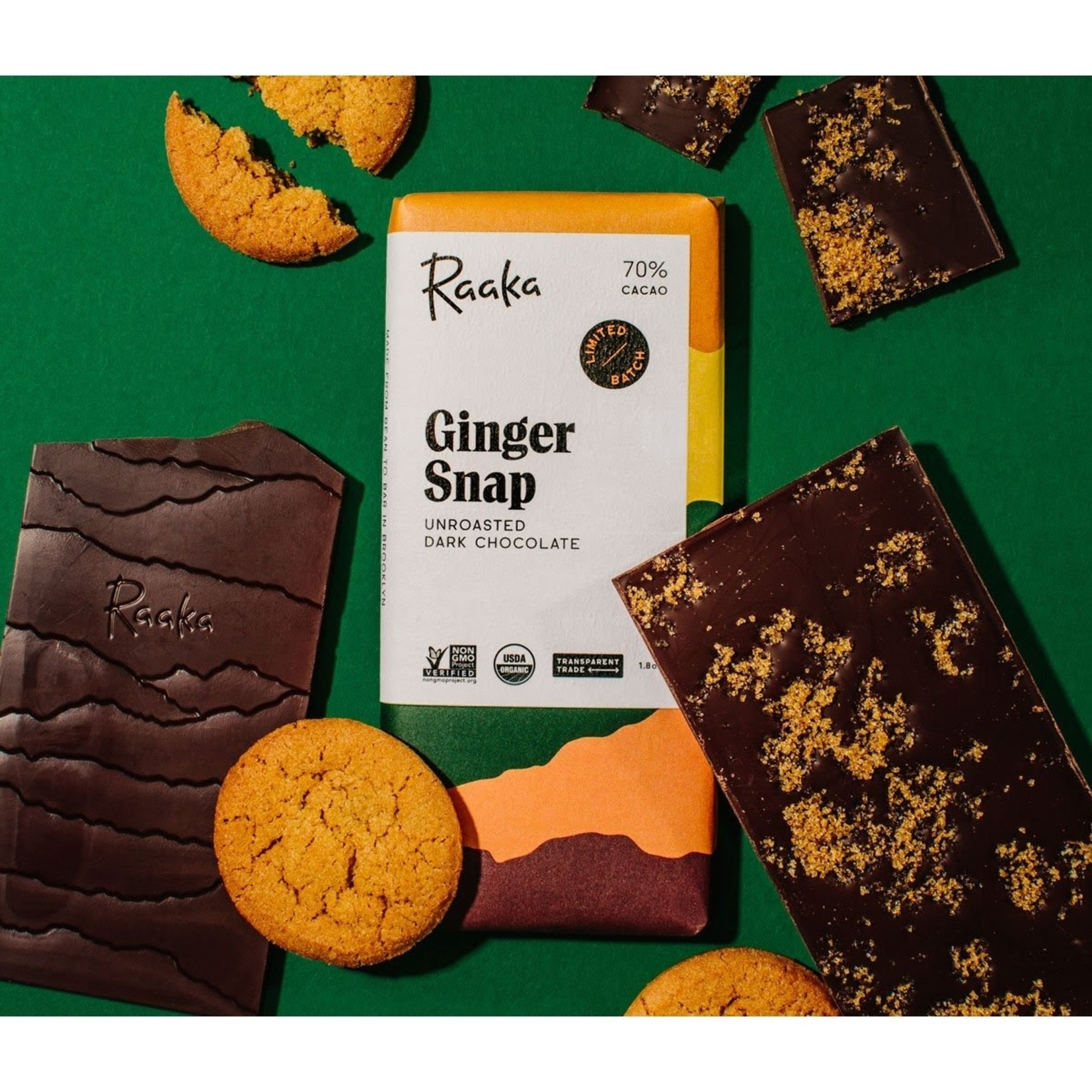 Raaka Raaka Ginger Snap Chocolate Bar 70% Cacao - Limited Batch