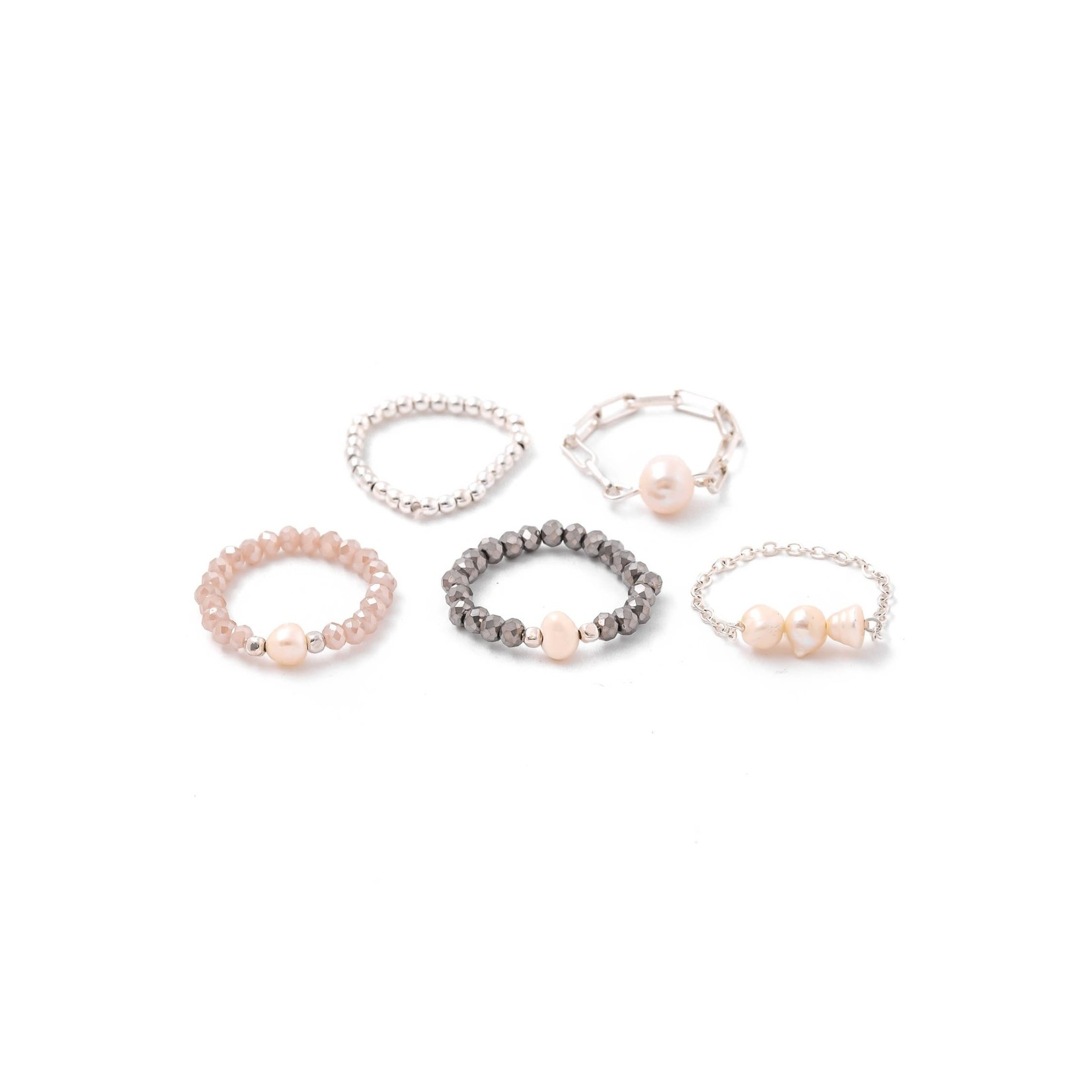 Anarchy Street Anarchy Street Ball Beaded Pearl Charm Ring Set Natural