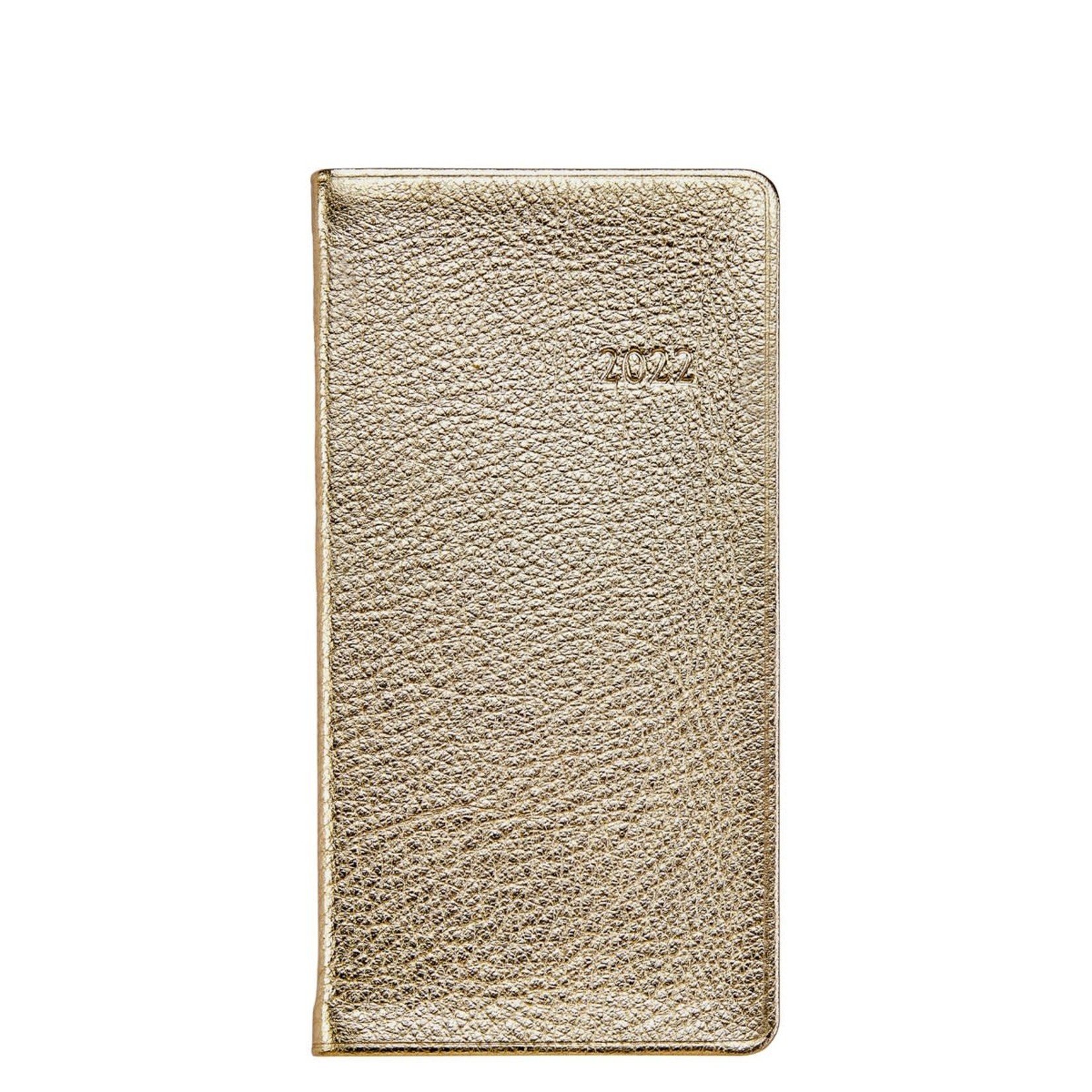 """Graphic Image Graphic Image 6"""" Personal Pocket Journal White Gold Goatskin"""