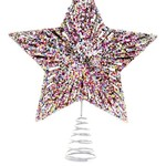"""Cody Foster 5 POINT GLITTERED STAR TREE TOPPER 10.5"""""""