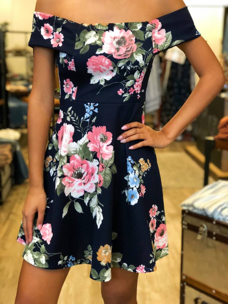 Short Floral Dress in Navy