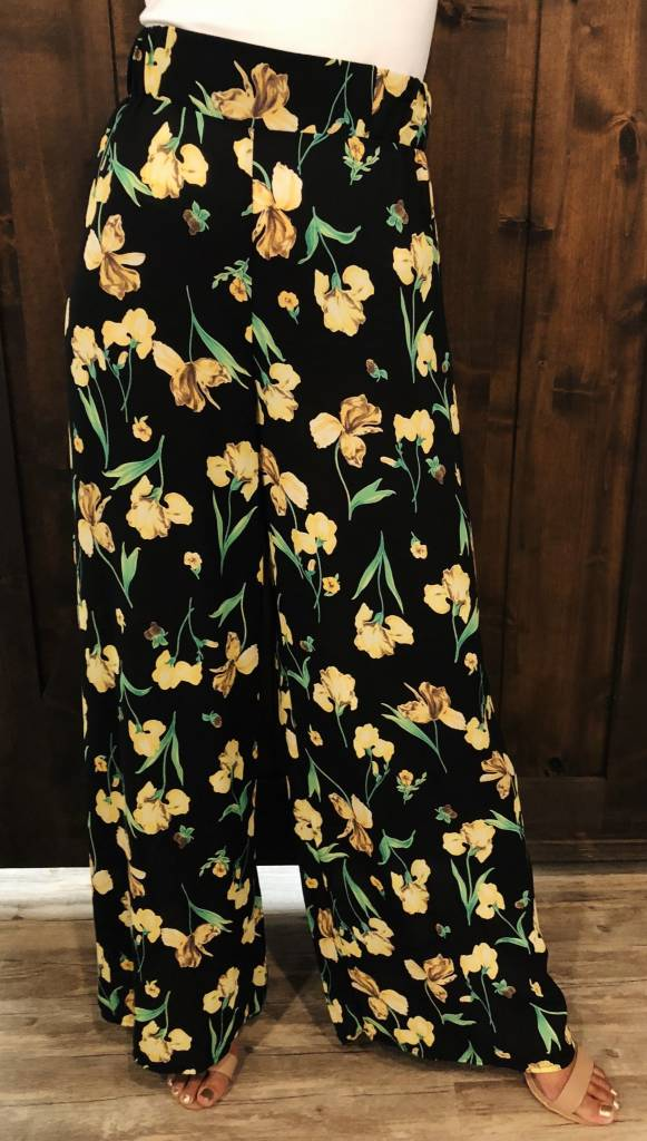 Black and Floral Flowy Pants