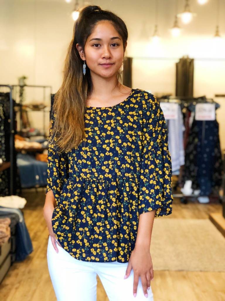 Navy Bell Sleeved Top with Yellow Floral Print