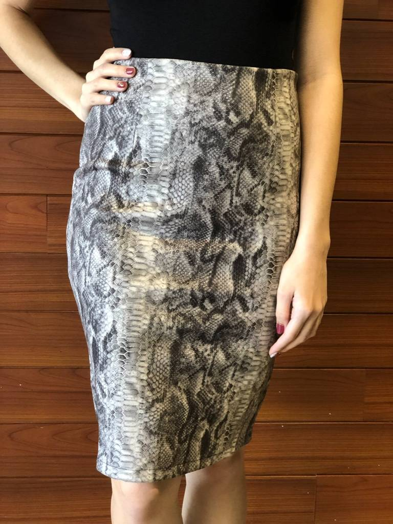 SUEDE SNAKE MIDI PENCIL SKIRT