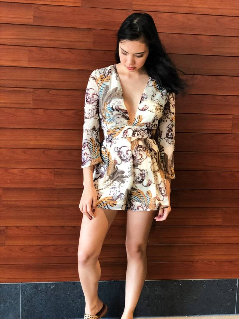 BELL SLEEVE FEATHER ROMPER