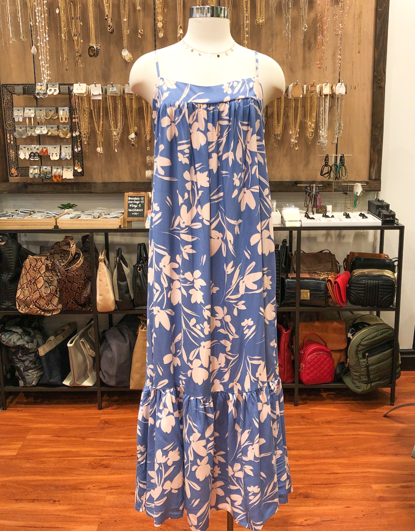 DR96192-I FLORAL TIERED MAXI DRESS