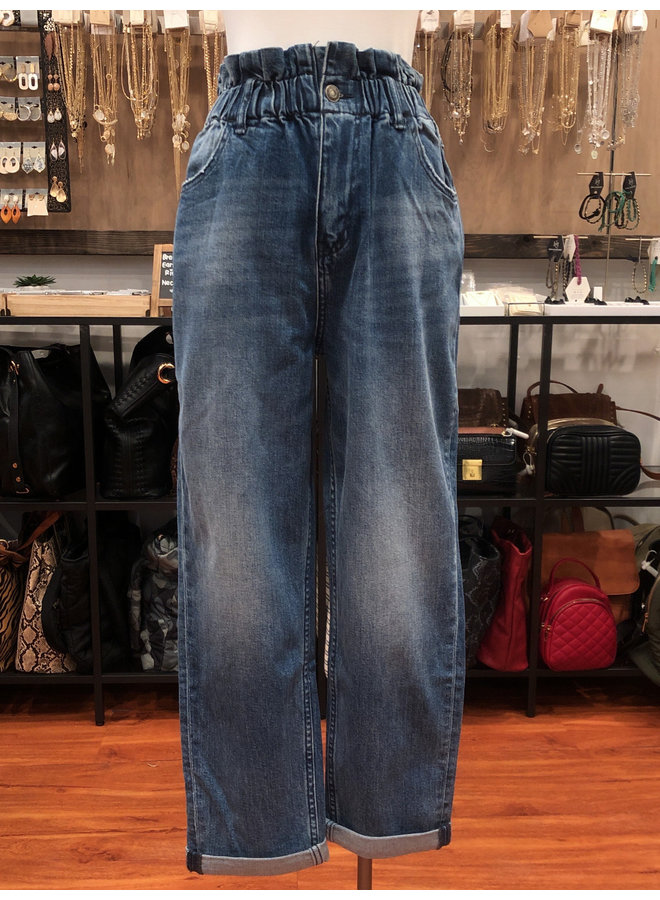 ROLL UP ELASTIC WAISTBAND PAPERBAG MOM JEAN