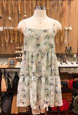 D17294A FLORAL CHIFFON TIERED DRESS