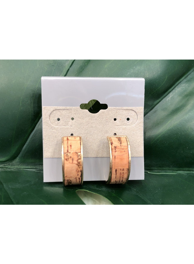 CORK OPEN HOOP EARRING