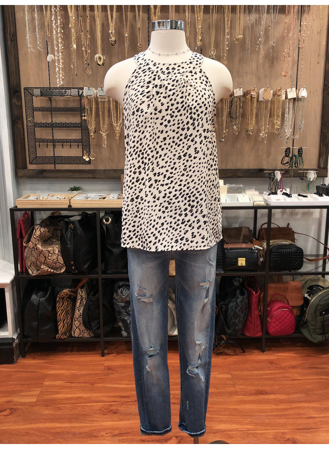 CT6864 LEOPARD HALTER TOP