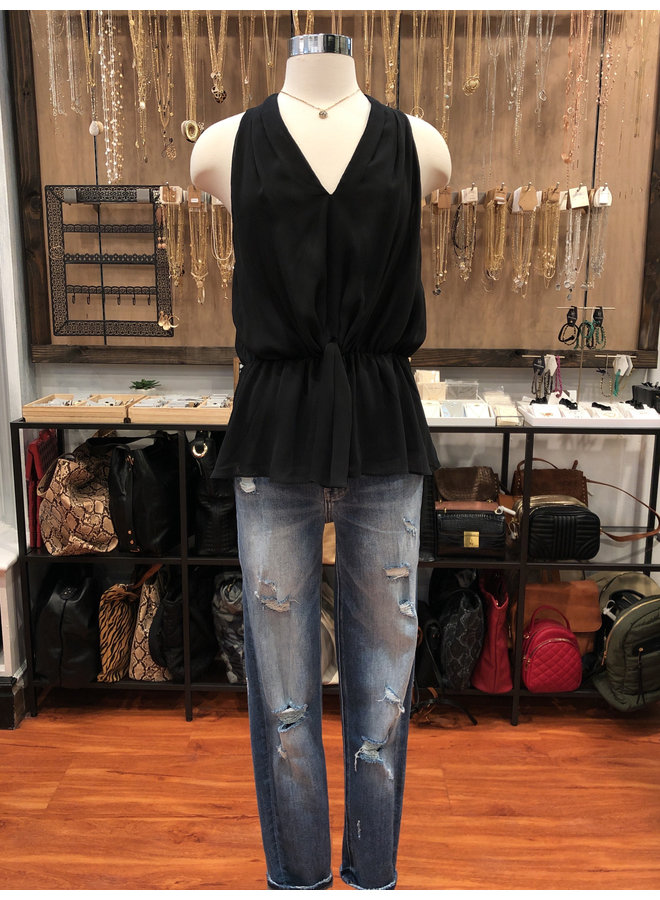 ST114979 KNOTTED PLUNGE NECK TOP