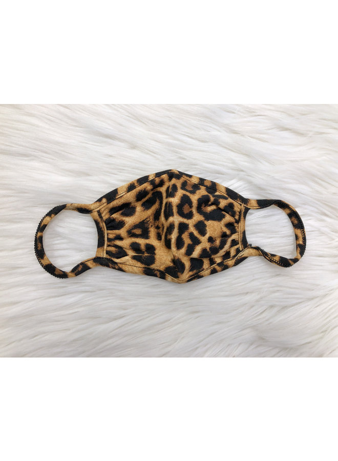KIDS FACE MASK LEOPARD BLACK/BROWN