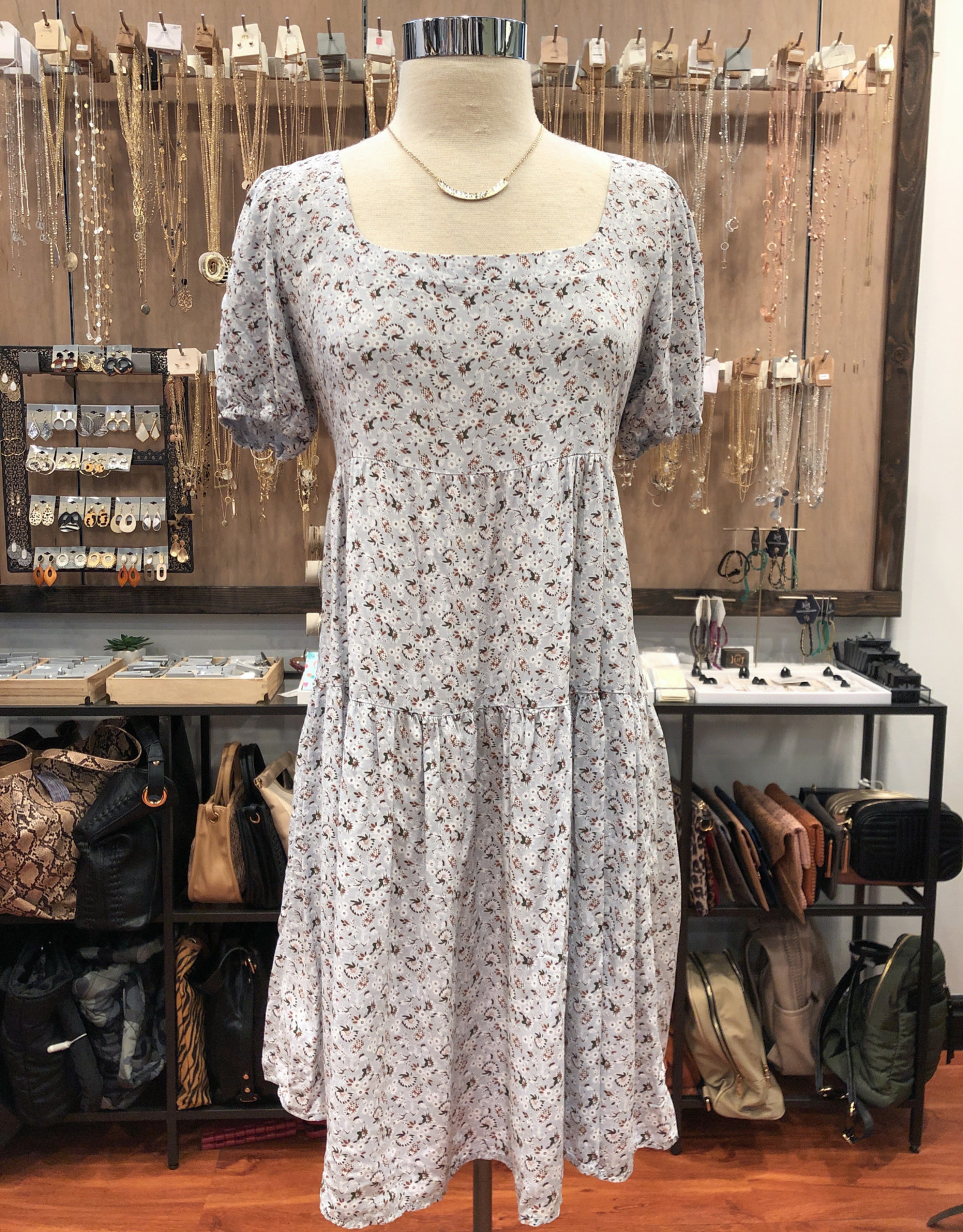 D17361 FLORAL BABYDOLL DRESS