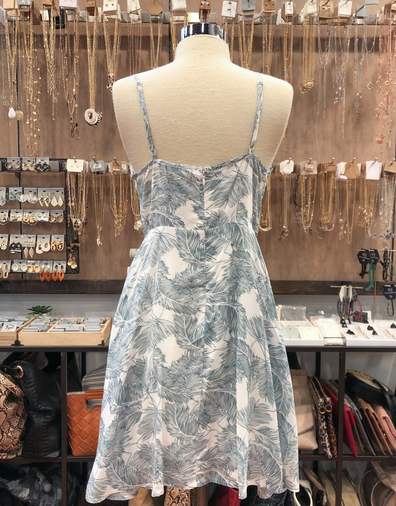 ID30460B TROPICAL FIT AND FLARE DRESS