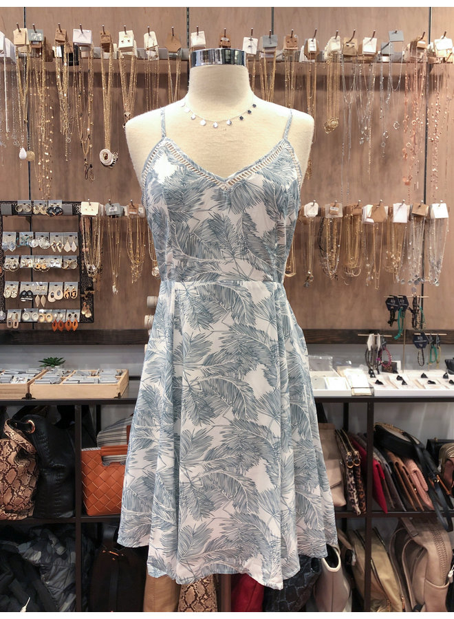 TROPICAL FIT AND FLARE DRESS